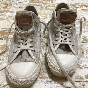 All Star Converse Burlap Canvas Shoes With Leather